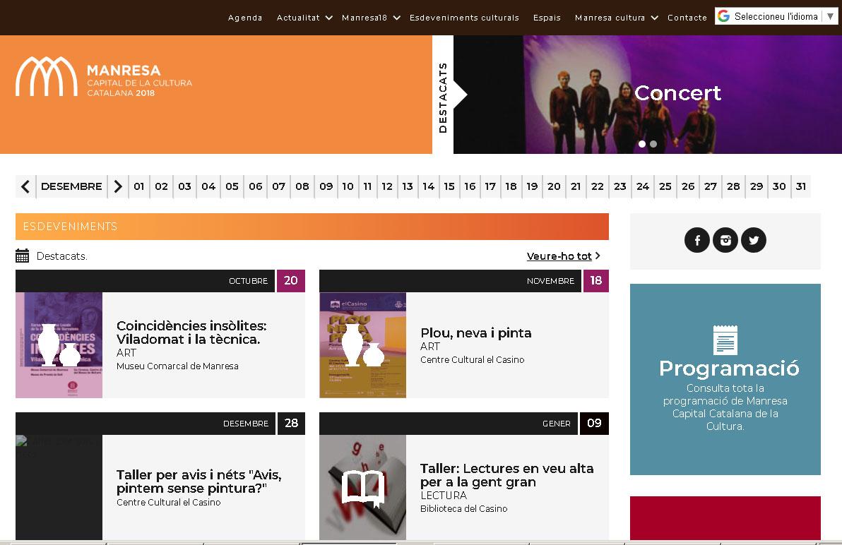 L'Ajuntament de Manresa estrena pàgina web de Cultura amb motiu de la capitalitat cultural 2018