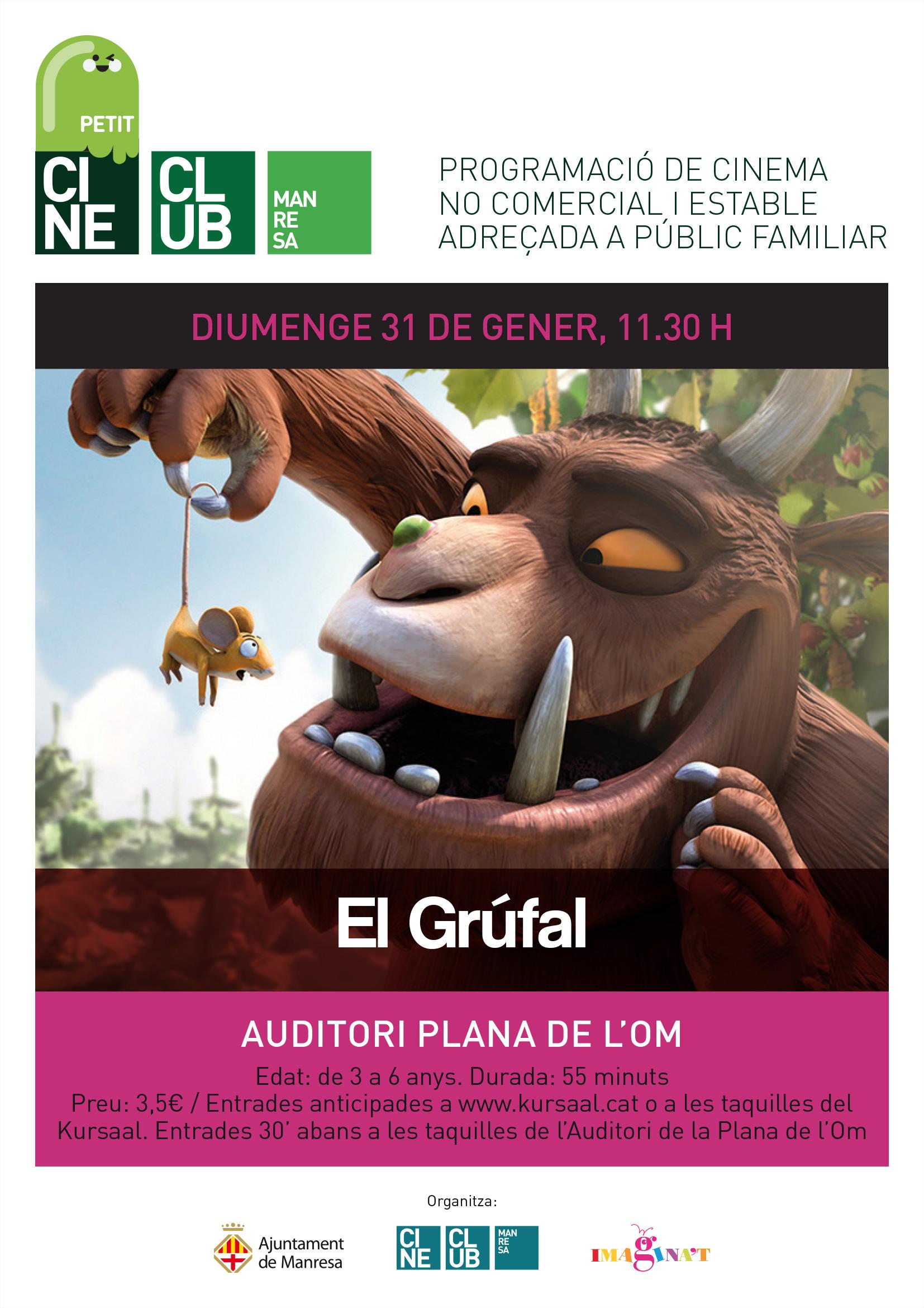"""La temporada d'hivern de Petit Cine Club s'inicia amb la projecció de """"El Grúfal"""", recomanada per a infants de 3 a 6 anys"""