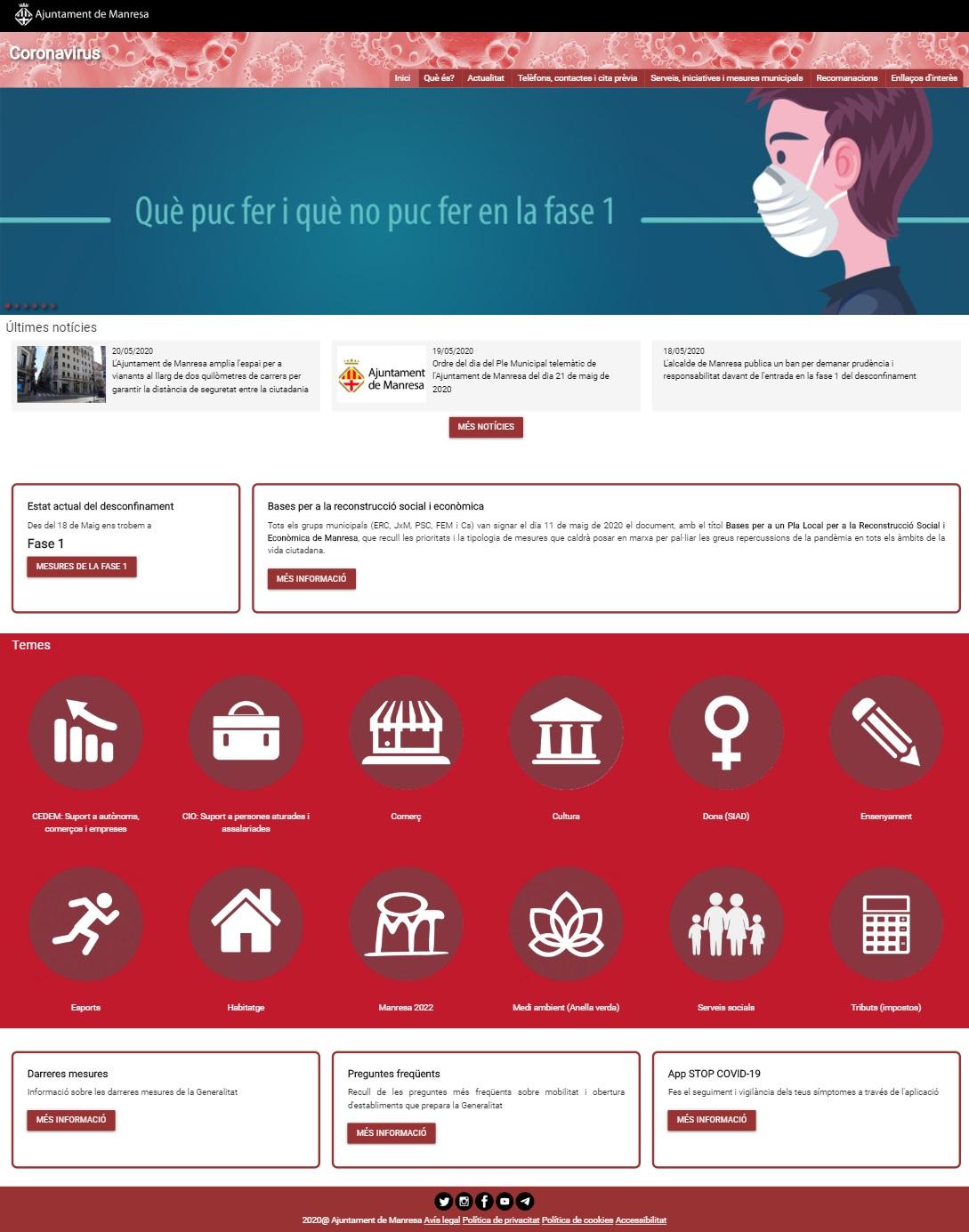 L'Ajuntament de Manresa posa en marxa un nou portal web amb tota la informació municipal relacionada amb el coronavirus